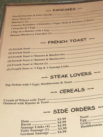Steve's: menu