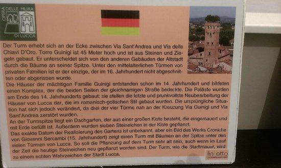 Guinigi Tower: Erklärungstafel