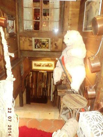 La Calèche: Stuffed Polar Bear and Wooden Skiis
