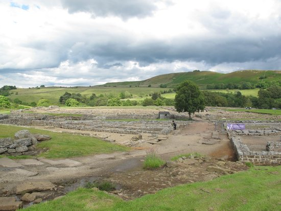 Vindolanda: View looking across the viscus (village) with the fort in the rear