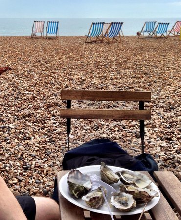 The Brighton Shellfish & Oyster Bar : Nice view of the sea with fabulous fresh Jersey oysters.