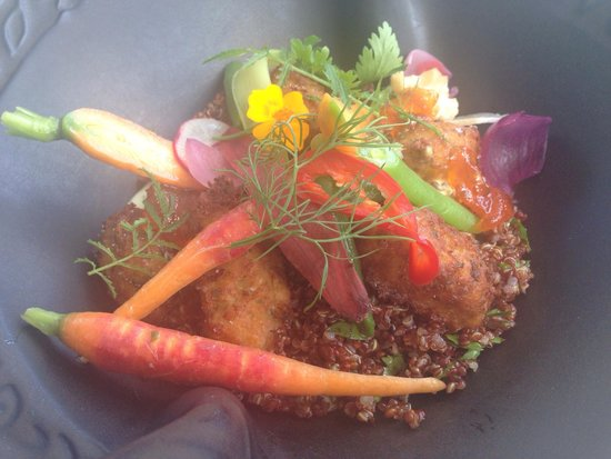 Langdon Hall Country House Hotel & Spa : Chickpea fritters with quinoa. Lunch menu. Delicious!