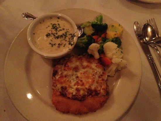 Blue Cheese Crumb Crusted Halibut With Side Of Chowder