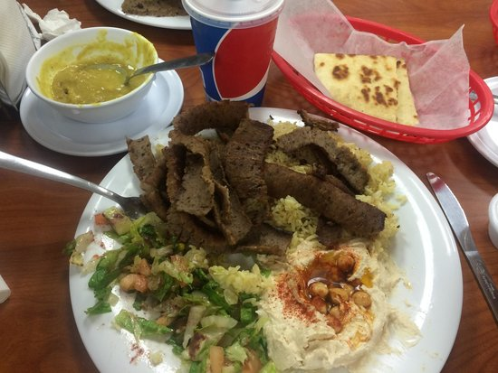 Petra Falafel House : Gyro Platter, served with lentil soup,  drink, hummus, salad and pita. AMAZING!