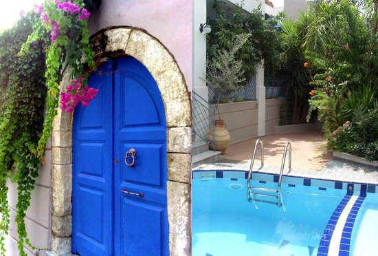 Villa Kallergi: The medieval entrance of Villa Athena Kallergi leads to the flower festooned courtyard and the p