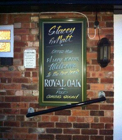 Royal Oak Tupton: Board outside the Royal Oak