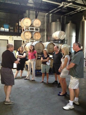 Cheers Cowichan Tours: fermenting room at Averill Creek Vineyards