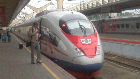 Sapsan Bullet Train: train at Moscow station
