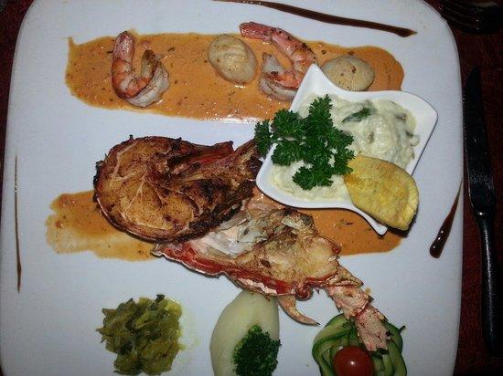 La Villa Restaurant: Grilled lobster,  shrimp,  scallops.
