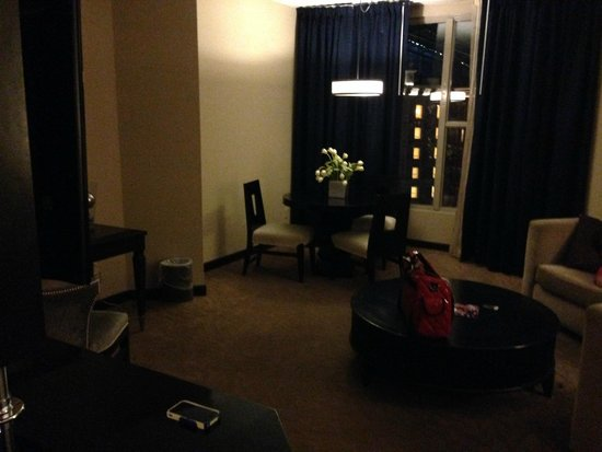 Sam's Town Hotel and Gambling Hall: Sams Town Suite living area/window to atrium view Jun2014