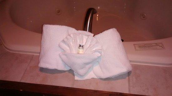 Stoney Creek Inn: Towel by Whirlpool Tub