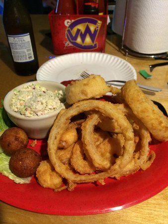 Bubba Jax Crab Shack : Shrimp dinner with onion rings and slaw.   Fantastic loved every bite