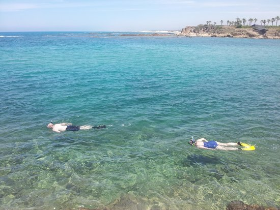 Israel Travel Company : Snorkelling in the Mediterranean over the ruins of Caesarea