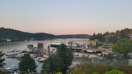 Friday Harbor House: Your view of the Firday Harbor from the bluff/patio outside lower floor room 11.
