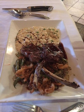 Suga's Deep South Cuisine & Jazz Bar: Lamb chops with pea and mint risotto and the best green bean casserole ever (I'm sorry Maw Maw).