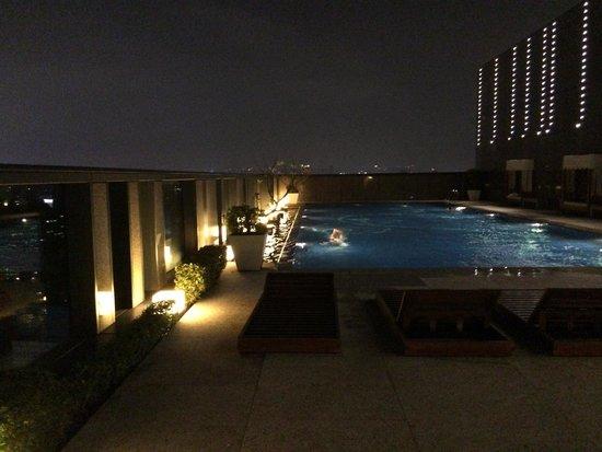The Okura Prestige Taipei : 夜景がきれいな夜の屋上プール