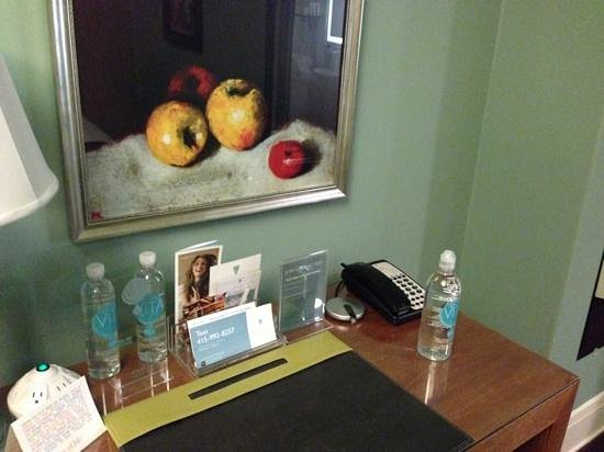 Galleria Park Hotel: $5 water bottles on the left and complimentary one on the right