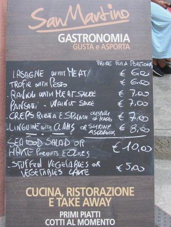 Gastronomia San Martino: Menu with prices