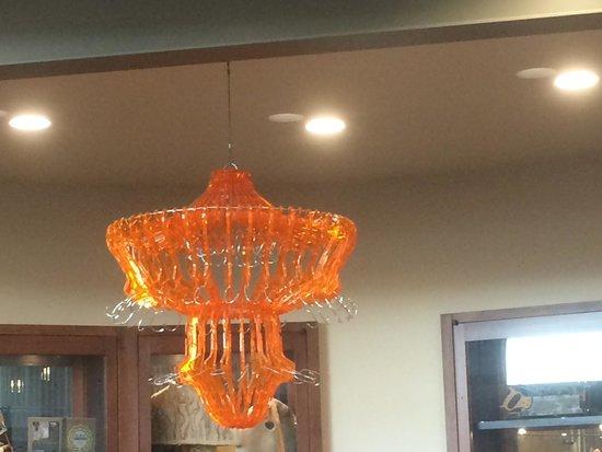 Exploratorium : coat hanger chandelier in the Tinkering Studio