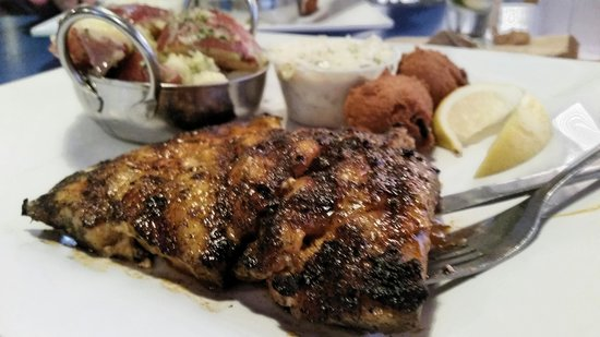 Phillippi Creek Village Restaurant & Oyster Bar : blackened grouper & the most delicious potatoes. ever.