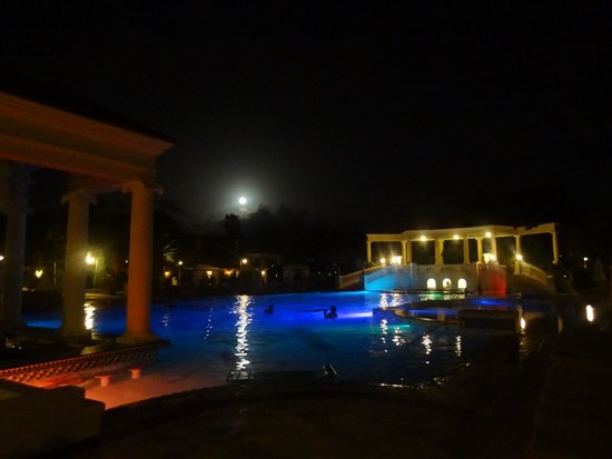 Beaches Turks and Caicos Resort Villages and Spa : Full Moon over the French Village Pool