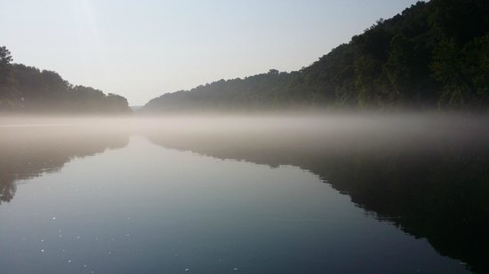 Cotter Trout Dock Guided Trout Fishing Tours: as the sun burned away the fog I got this cool shot