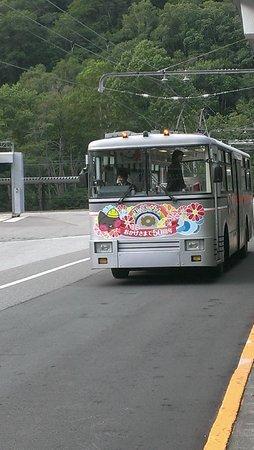 Tateyama Kurobe Alpine Route: 50周年の図柄びあるトロリーバス