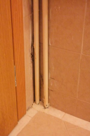Karalis City Hotel: Exposed pipes and wall behind