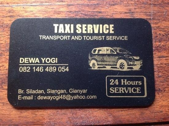 Putu Bali Driver Private Day Tour: Yogi's Business Card