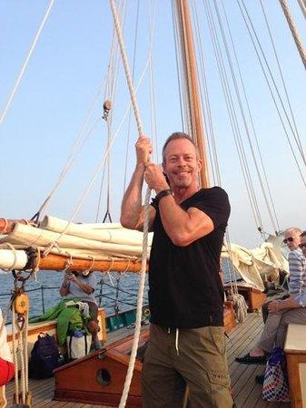 The Schooner Hindu, Hindu Charters: Here's my husband helping to hoist a sail!