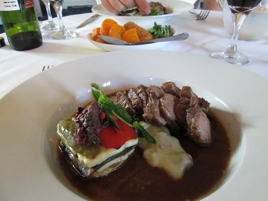 Branston Hall Hotel: Rump of Lamb Baked with Greek Herbs, Potato and Smoked Almond Skordalia, Ratatouille and Haloumi