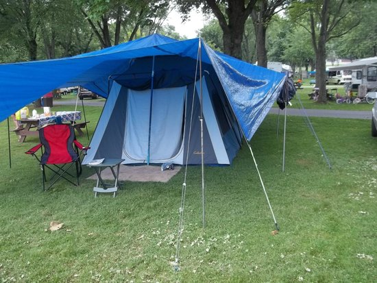 Old Mill Stream Campground: campsite #124, and ready for any weather.