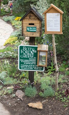 sign and donation box picture of betty ford alpine gardens vail. Cars Review. Best American Auto & Cars Review