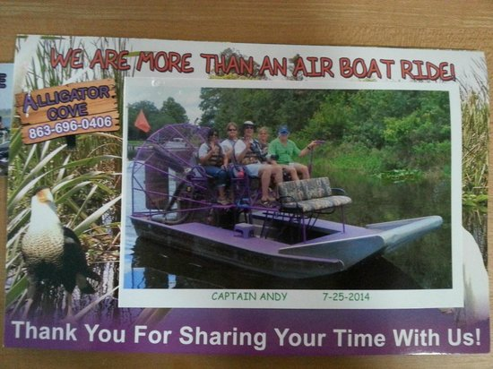 Alligator Cove Airboat Nature Tours: This is the photo we received upon our departure from our tour.