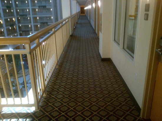 Embassy Suites by Hilton Columbus Dublin: Outside our ADA accessible room.  One of the long walkways to the elevator