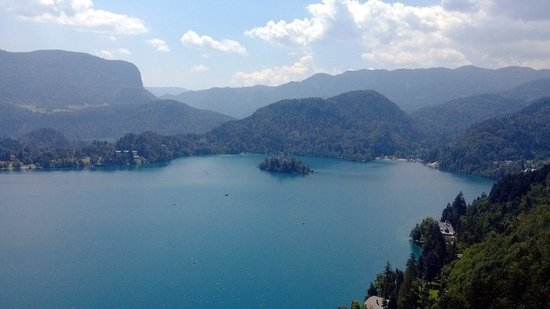 Bled Island : View on the  island  from Bled castle