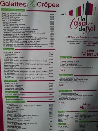 Le Casa Del Sol меню