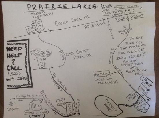 Big Toho Airboat Tours: this is the hand written map you will follow.  its actually pretty accurate.