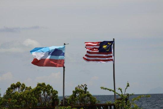 Mabul Water Bungalows: Malaysian & Sabah Flags