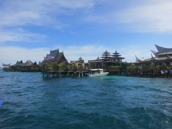 Mabul Water Bungalows: View of resort from Dive boat