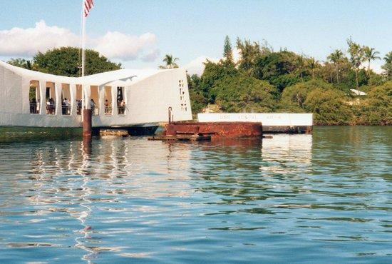 USS Arizona Memorial/World War II Valor in the Pacific National Monument: Close Up Of The USS Arizona Against The Memorial