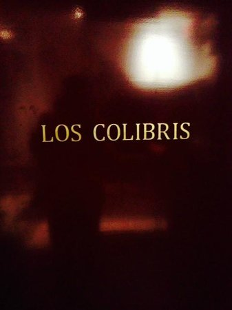 Los Colibris: entrance logo on fantastic ruby red background