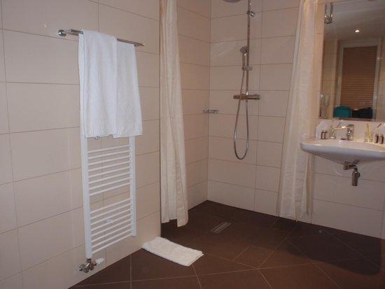 Hotel Devin: Baño en habitación para minusválidos