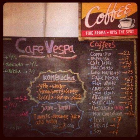 Cafe Vespa: Great coffee menu