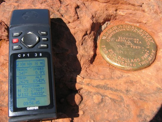 Observation Point : The GPS reported altitude is not far off from the USGS marker