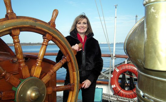 1877 Tall Ship ELISSA : at the wheel from a previous visit