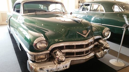 Moody Mansion: 1949 and 1953 Cadillacs in the Moody garage.