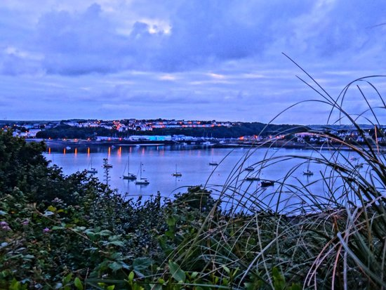 Cleddau Bridge Hotel: The view of the bay at night from the hotel