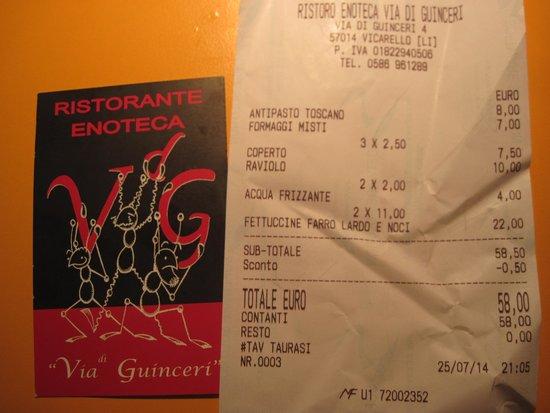 Via di Guinceri: il conto