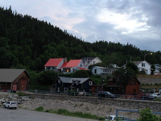 Auberge la Sainte Paix : View from Harbor of B&B ( red roof)